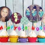Fotomontaje con cupcakes de cumpleaños