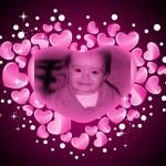 Marco de corazones rosas para fotos