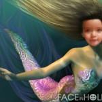 Fotomontaje de rostro en una sirena
