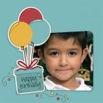 Marco para fotos con globos de cumpleaños