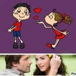 Fotomontaje romántico con dibujos animados