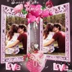 Fotomontaje de amor con corazones para dos fotos