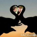 Fotomontaje de amor con dos elefantes