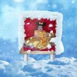 Fotomontaje en una publicidad con nieve