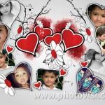 Collage de amor y fotos en forma de corazón