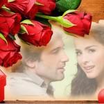 Fotomontaje con rosas y un regalo de San Valentin