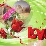 Fotomontaje de amor con rosas rojas y corazones
