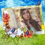 Marco para fotos con flores y mariposas
