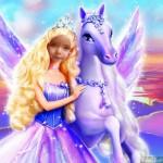 Fotomontaje infantil con Barbie y su caballo violeta