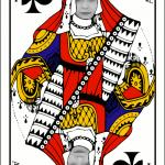 Fotomontaje de rostro en una carta de reinas