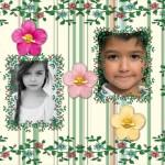 Collage para dos fotos con marco de flores