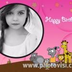 Marco de cumpleaños infantil con diversos animalitos
