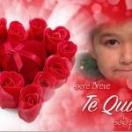 Fotomontaje de amor con un corazon de rosas rojas