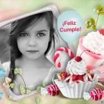 Marco para fotos de Cumppleaaños con los mas bellos cupcakes