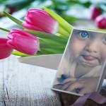 Fotomontaje con un ramo de flores de tulipanes
